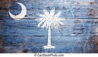 Flag of the state of South Carolina painted on grungy wooden...