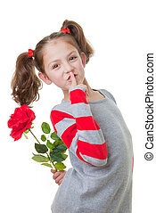 mothers day gift - young child with flower gift for mothers...