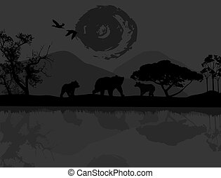 Wild bears near water on beautiful landscape, vector...