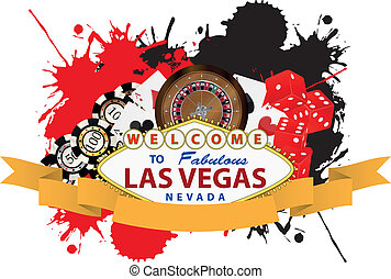 las vegas ribbon - illustration of las vegas with yellow...