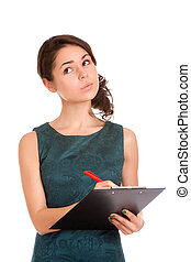 Young woman holding clipboard and thinking - Young woman...