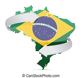 flag map of Brazil changing ideas concept illustration...