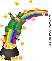 Leprechaun Sliding Down Rainbow - St Patricks Day Irish...
