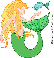 Mermaid - Vector illustration of a beautiful mermaid and a...
