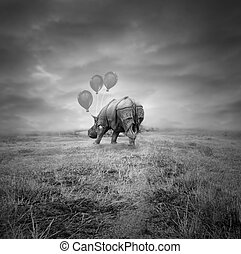 Fantasy rhino - Fantasy artistic rhino back with three...