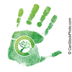 Green handprint eco, bio illustration design over a white...