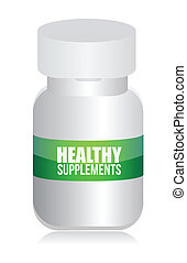 healthy medical supplement pills jar illustration design...