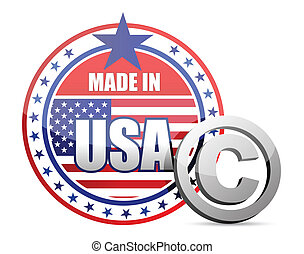 Made in USA flag seal with copyright
