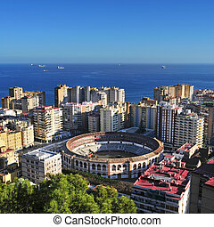 Malagueta Bullring in Malaga, Spain - aerial view of...