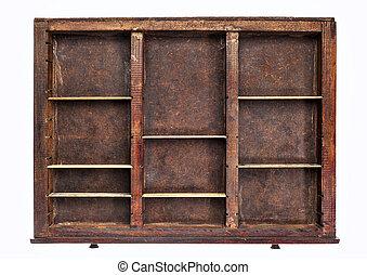 old typesetter drawer - vintage wood printer (typesetter)...