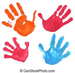 multicolored fingerprints - several multicolored children...