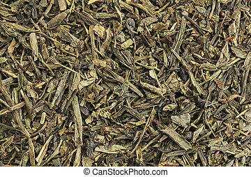 Sencha green tea - background texture of Sencha green tea -...