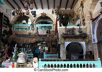 Coffee bar, Sousse, Tunisia - Interior of Arabic coffee bar,...