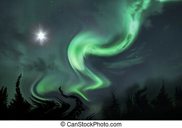 Northern Aurora Vortex - Strange distorted landscape with...