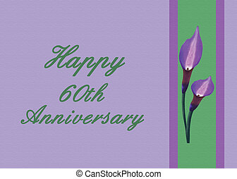 60th Wedding Anniversary Card - Calla lilies Illustration on...