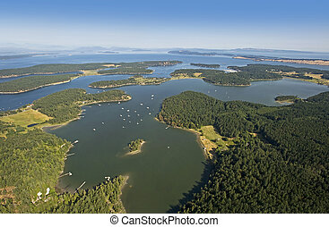 San Juan Island and Henry Island, Gulf Islands in the Strait...