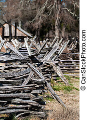 old country village fence line criss cross