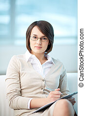 Personal counselor - Portrait of pretty counselor being...