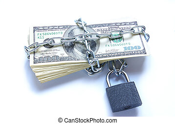money - Dollars locked a chain on a white background