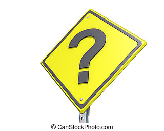 Question Mark Yield Sign White BG - A yield road sign with a...