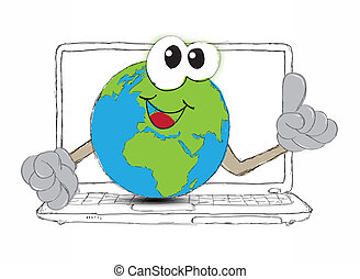drawing An Earth globe as the world on your laptop computer keyboard