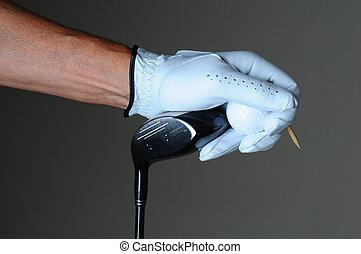 Closeup Golfer Hand Club Ball