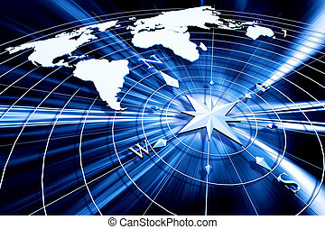 Compass with world map - Compass on abstract background
