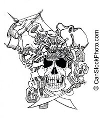 skull, pirate, piracy schooner, ship, travel