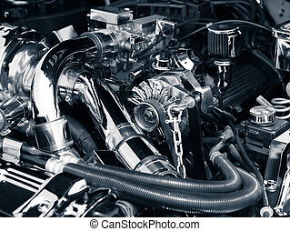 Car engine - Toned image of an engine compartment of a...