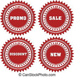 promo, sale, discount stickers -  isolated on white back