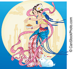 Asian Fairy Lady - Mid Autumn - Vector of Traditional...