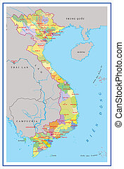 Vietnam map with detail of islands, provinces name and...