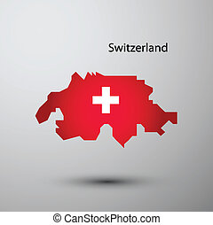 Switzerland flag on map of country