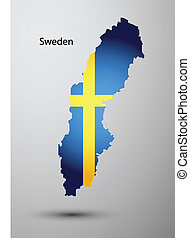 Sweden flag on map of country