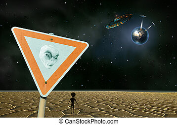 Alien planet - A humorous image of a little man on an alien...