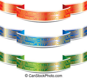 Ribbon with PCB - set of ribbon with PCB, EPS 10