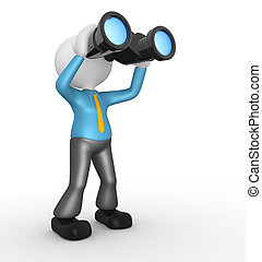 Businessman - 3d people - man, person with a binocular....