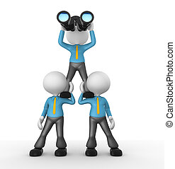 Businessman - 3d people - man, person looking through...