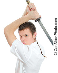 Young man threatening with sword. Isolated on white