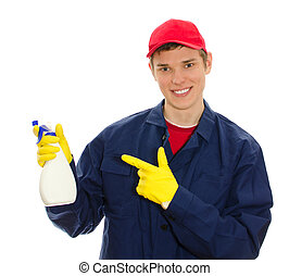 Young male window cleaner holding cleanser. Isolated on white
