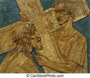 5th Station of the Cross - Simon of Cyrene carries the cross