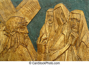 8th Station of the Cross, Jesus meets the daughters of...