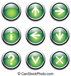 Green buttons with signs Vector art