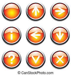 Orange buttons with signs. Vector art.