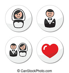 Groom and bride on round labels - Wedding icons set -...