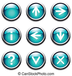 Turquoise buttons with signs. Vector art.