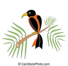 Decorative bird. Vector art.