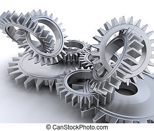 Interlocking gears - 3D render of interlocking gears