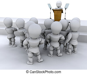 Speaking to a crowd - man, male, 3d, render, speaker, public...