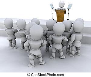 Speaking to a crowd - man, male, 3d, render, speaker, public...